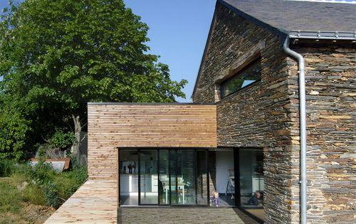 habillage bois facade en pierre idee terrasse pinterest la terrasse extension et ouvre. Black Bedroom Furniture Sets. Home Design Ideas