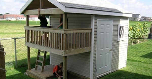 Playhouse storage shed outdoor playhouse plans savory for Backyard clubhouse plans