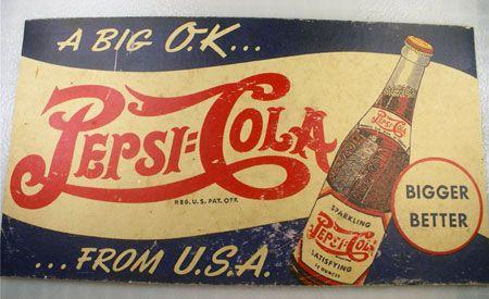 DRINK PEPSI-COLA ADVERTISING METAL SIGN