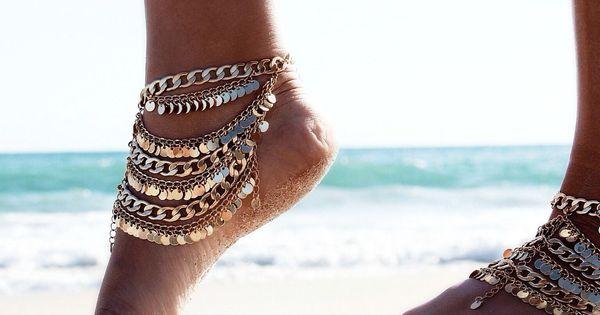 Image via We Heart It https://weheartit.com/entry/169544014 ankle beach bohemian fashion feet jewelry
