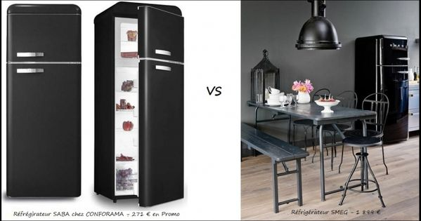 frigo smeg noir r tro kitchen pinterest r tro. Black Bedroom Furniture Sets. Home Design Ideas
