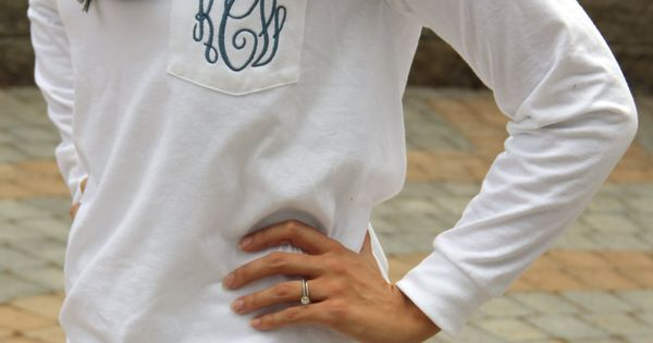 Monogram Long Sleeve Pocket Tee Shirt by SEmbroideredBoutique, $24.00 I don't like