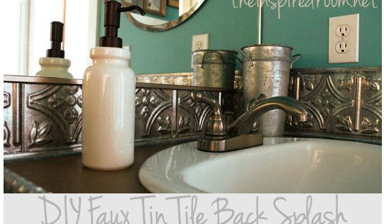 DIY Faux Tin Tile Back Splash. Affordable backsplash. Ceiling tile uses. Bathroom