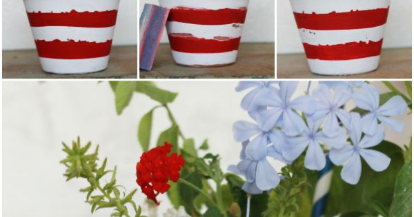 Stars & Stripes Flower Pot // This would be a great Fourth