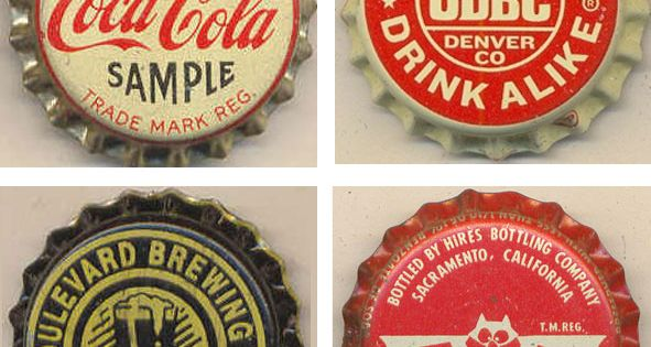 soda bottle caps typography collectibles vintage typography type