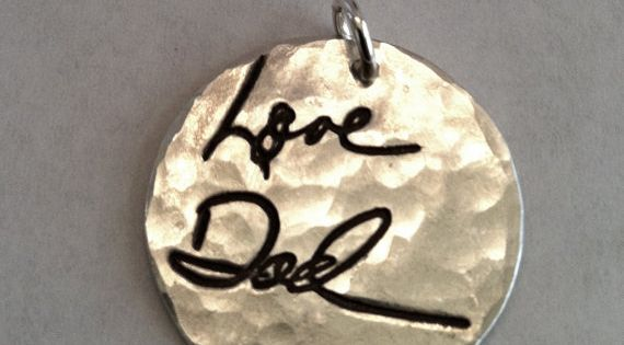 Memorial Jewelry. Your loved one's hand writing imprinted on a piece of