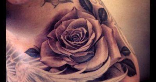 Rose on the shoulder tattoos pinterest shoulder for Dove and rose tattoo