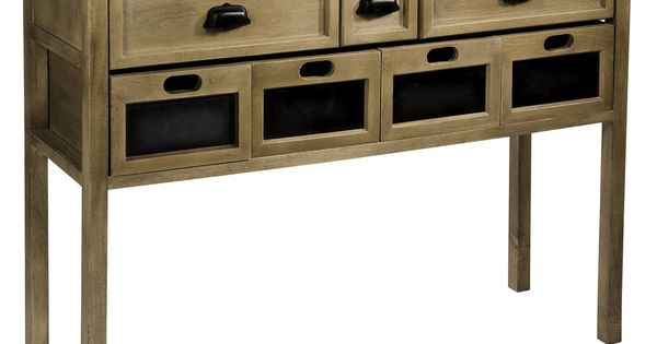 console en bois et m tal telegraphe comptoir de famille 3 tiroirs 4 caisses avec ardoise. Black Bedroom Furniture Sets. Home Design Ideas