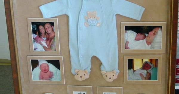 Baby Photo Keepsake Frame With First Outfit Parent Photos