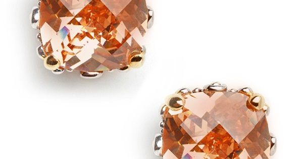 bauble bar peach cushion cut studs.