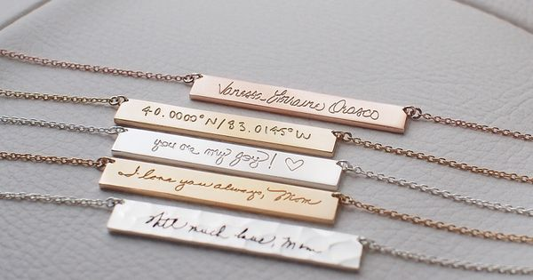Meaningful Wedding Gift Ideas: Actual Handwriting Bar Necklace