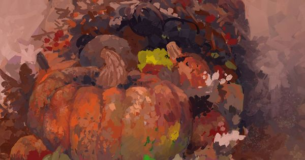 Pumpkin center piece, digitally painted in Artrage