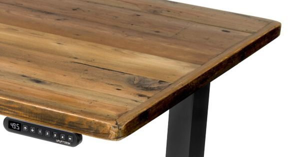 Uplift Standing Desk With Reclaimed Wood Desktop Adjustable Height Desk Sit Stand Desk Adjustable Basement Guest Rooms