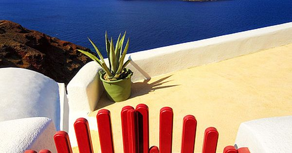 Red Gate, Blue Water, Santorini Greece. This is such a gorgeous place.