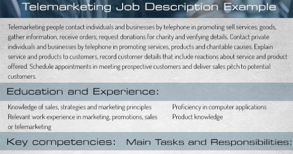 Telemarketing Job Description Duties And Responsibilities Cold