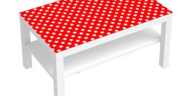Stickers Pour Table Basse Lack 90x55 White Stars Red Sticker Stickers Pour Meuble Meuble Table Basse Lack