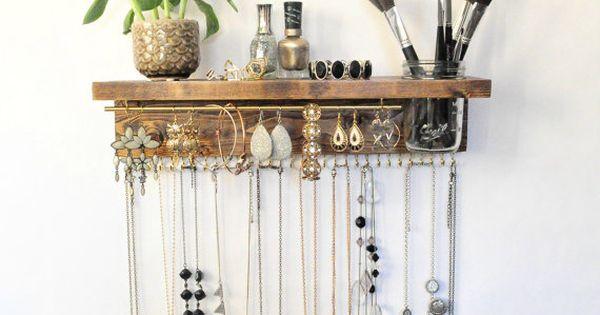 organisateur de bijoux avec tablette support de collier bracelet boucle d oreille barre et. Black Bedroom Furniture Sets. Home Design Ideas