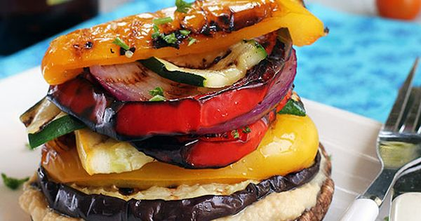Grilled Vegetable Stack with Homemade Lemon Hummus Recipe | Gluten-Free and Vegan