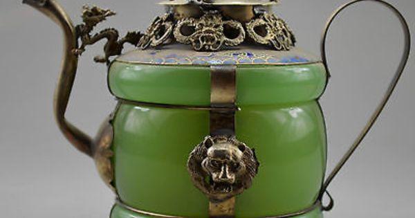 Collectible Decorated Old Handwork Jade /& Tibet Silver Dragon Tea Pot Monkey Lid