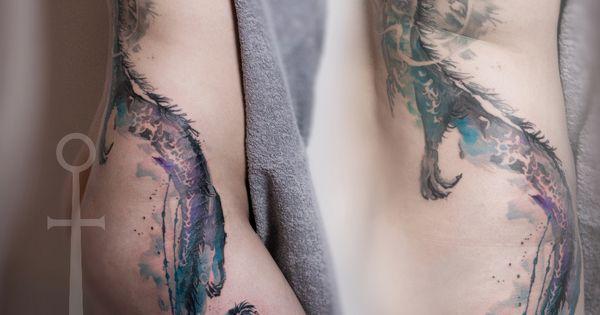 watercolor tattoo dragon google suche tatua e pinterest tattoo ideen ausgefallene. Black Bedroom Furniture Sets. Home Design Ideas