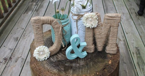 Jute wrapped monograms w ampersand shabby chic rustic for Ampersand decoration etsy