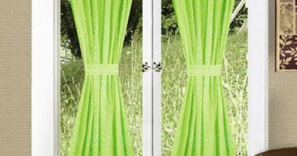 Lime green french door curtains colorful curtains for Green french doors