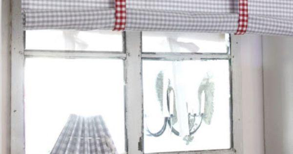 Estor de cuadritos de vichy recogido con lazos cortinas - Lazos para cortinas ...