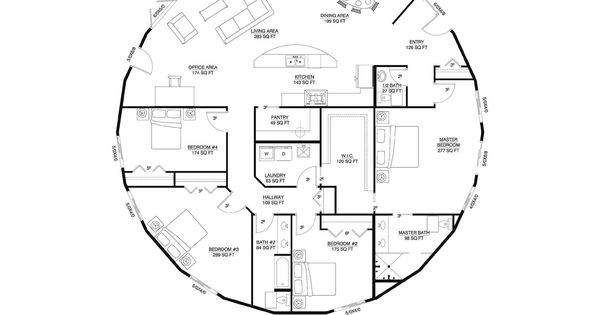 Deltec floor plan round house and home pinterest for Sewing room floor plans