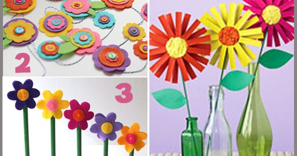 creating there own flower pots and flowers is a great party craft