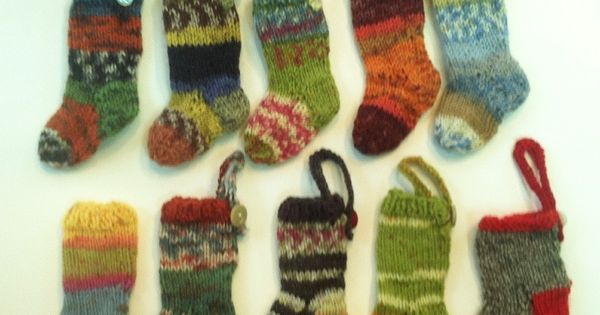 mini stockings in sock yarn-usually with a set of #1 needles - love to ...