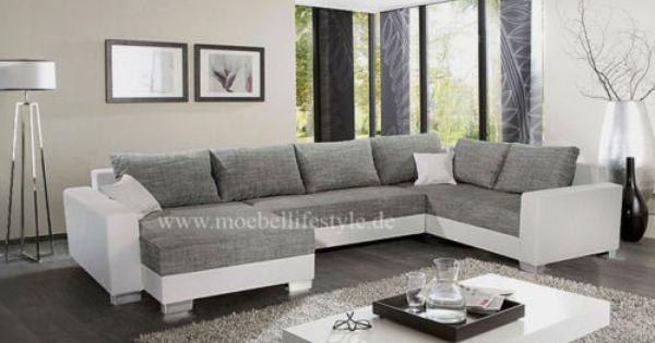 Wohnlandschaft Xl Format Ecksofa Im U Form In Weiss Grau Sofa