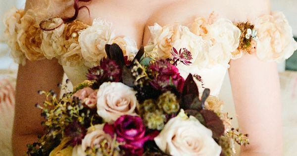 Victorian Steampunk Wedding. Flowers are very pretty.I love the hair
