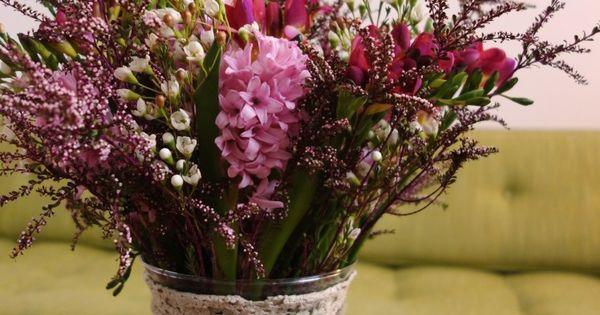 Freesias, hyacinth, thryptomene and waxflower arrangement #pinkbouquet