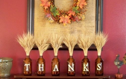 Repurposed bottle decor -give thanks!