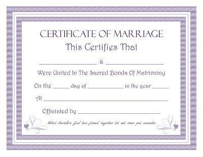 Marriage Certificate Keepsake Marriage Certificate Free
