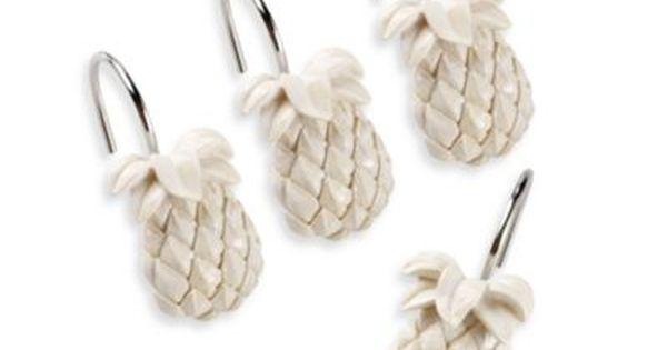 Tommy Bahama Pineapple Shower Curtain Hooks Set Of 12