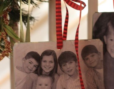 A family photo ornament - photo Mod Podged onto a thin wooden