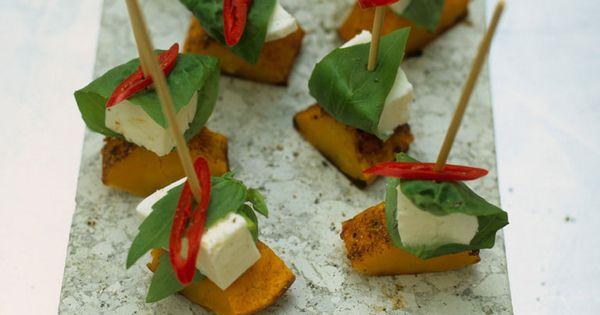 Mozzarella and squash skewers recipe mozzarella and for Canape ideas jamie oliver