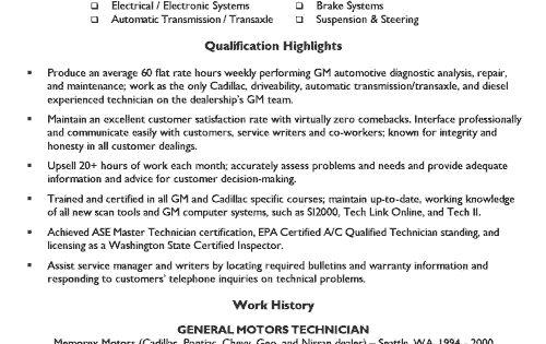 Automotive Mechanic Resume Example Resume Resume