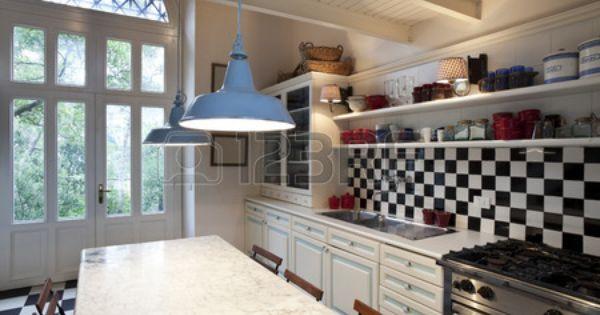 Schachbrettboden Kuche Interieur Stilvolle Kuche Innenarchitektur Kuche Kucheneinrichtung