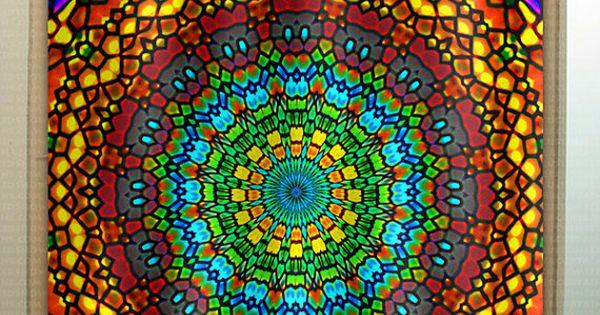 Techo De Iglesia Vidrieras Bohemia Mandala Ducha Por