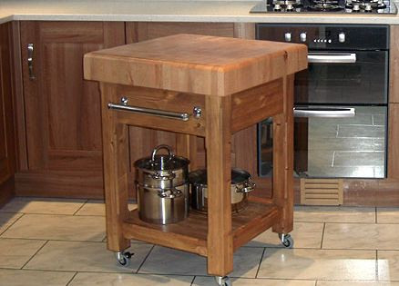 Movable Butcher Block Kitchen Island With Drawer And Shelf