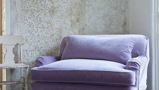 "Portobello Chair and 1/2 - Amethyst Velvet. Measurements: 52W"" x 42""D x"
