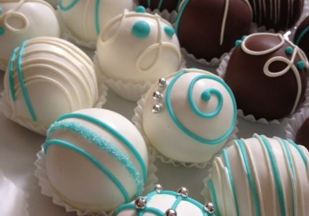 Tiffany' s themed bridal shower cake balls. Or use this decoration for