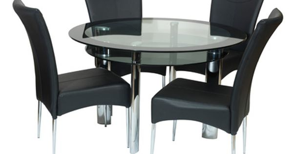 Boat Fixed 110cm Round Clear Black Glass Dining Table