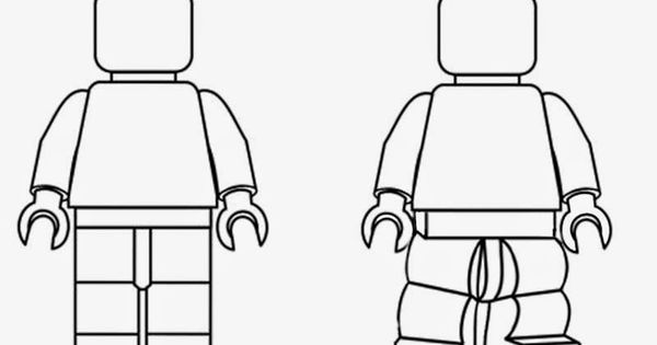 Simple black and white clipart LEGO Minifigures outline ...
