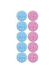 team girl team boy gender reveal pins  set of 20 you choose size 1.25 1.5 or 2.25