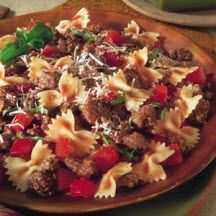 Fresh Tomato Beef Bow Tie Pasta Recipe At Cooksrecipes Com Bow Tie Pasta Recipe Tasty Pasta Pasta Recipes