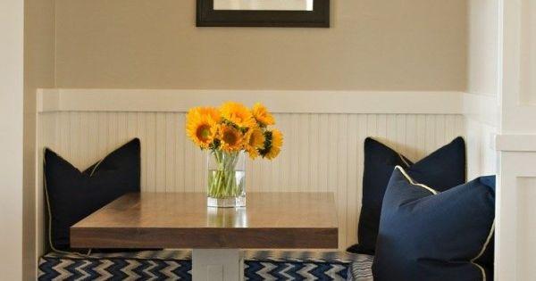 Corner Nook Kitchen Table With Storage Using Under Bench Drawer Kit Below Chevron Pattern