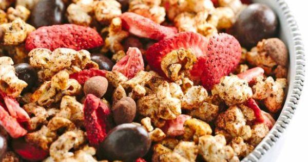 Chocolate Almond Aztec Popcorn with Strawberries | Popular recipes ...